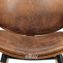Vintage Retro Dining Chair LUXURY Faux Leather Walnut Office Waiting Room Seat