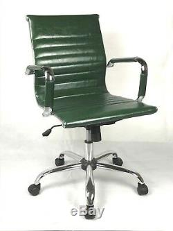 Vintage Retro GREEN Ribbed Faux Leather Classic Designer Office Chair Eames