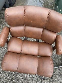 Vintage Retro Mid Century Salon Swivel Chair Home Office Italian Leather