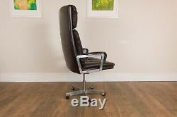 Vintage Retro VercoBrown Leather High Backed Desk Chair