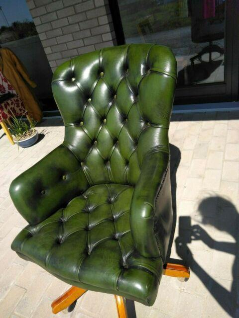 Vintage Ring Mekanikk Office Chair, Green Leather, Good Used Condition
