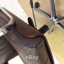 Vintage Rosewood Chrome Danish Design Leather Swivel Desk, Office Armchair