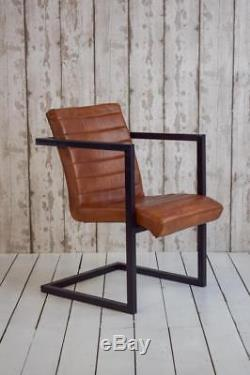 Vintage Style Leather Retro Industrial Cafe Bar Office Carver Arm Chairs