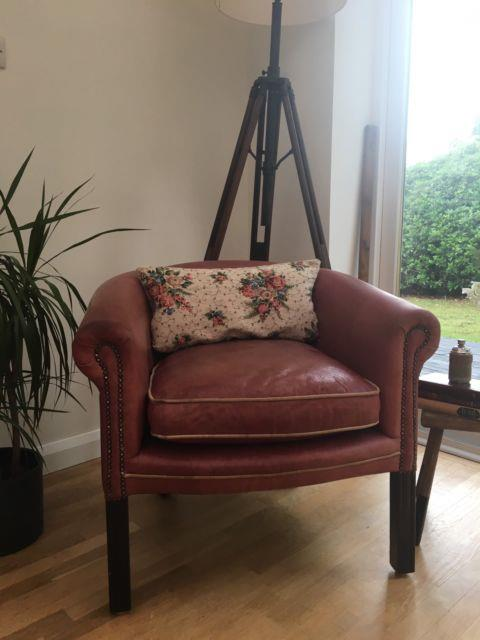 Vintage Style Rose Pink Leather Club Armchair Tub Chair Reading/office/ Lounge