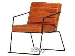 Vintage Tan Leather Chair Industrial Club Armchair Room Office Seater Metal Legs