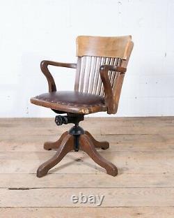 Vintage Tilt Swivel Captains Desk Office Chair