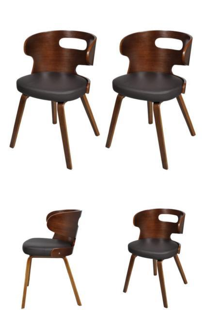 Vintage Wooden Leather Chairs Black Dining Living Room Office Seating Decoration