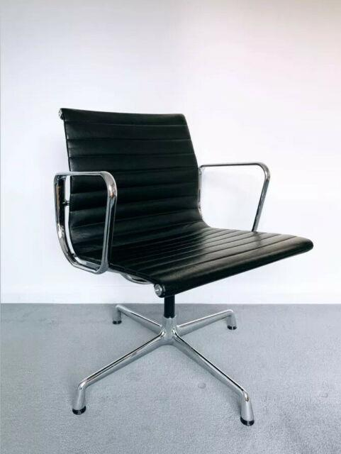 Vitra Eames Ea108 Office Aluminium Chair, Polished Chrome, Black Leather