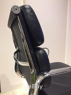 Vitra Eames Reproduction Soft Pad Black Italian Leather Low Back Office Chair