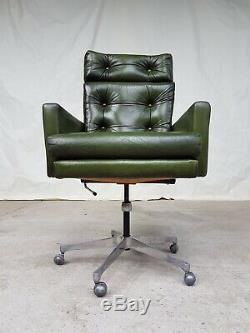 Vtg Mid Century Norwegian Leather Office Swivel Chair By Ring Mobelfabrikk #423