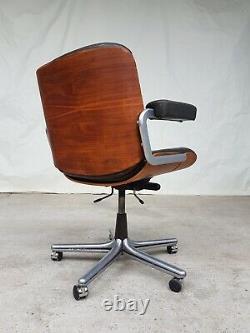 Vtg Mid Century Stoll Giroflex Leather Office Swivel Chair By Karl Dittert #504
