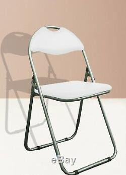 White Leather Padded Folding Desk Chair Seat Back Rest Office Computer Garden