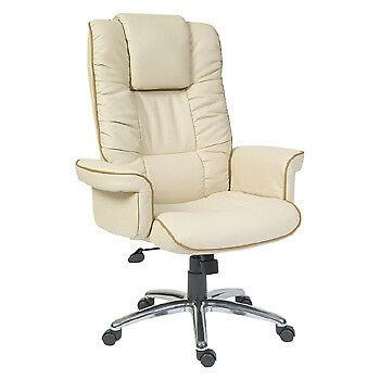 Windsor Luxury Cream Executive Leather Swivel Office Gull Wing Arm Chair