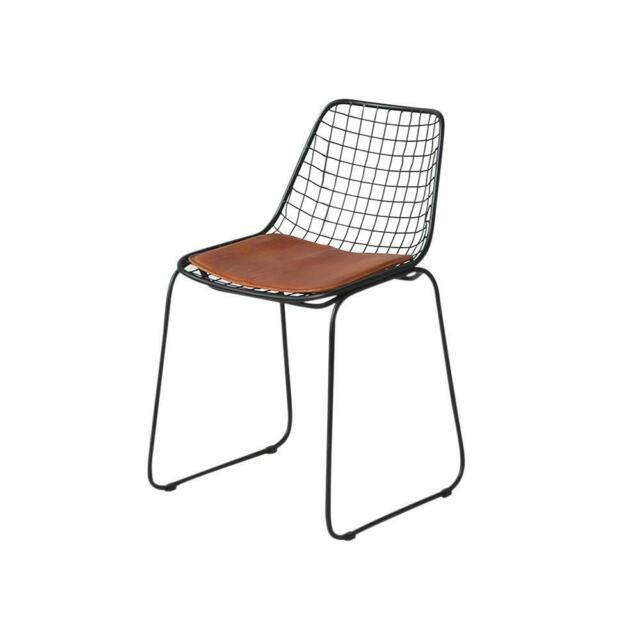 Wire Dining Chair Tan Leather Black 78 X 45 X 48 Cm Kitchen Office Industrial