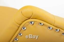 Yellow Luxury Chesterfield Buttoned Leather Swivel Office Chair