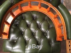 Yew Framed Green Leather Deep Button Captains Chair Office Chair Study