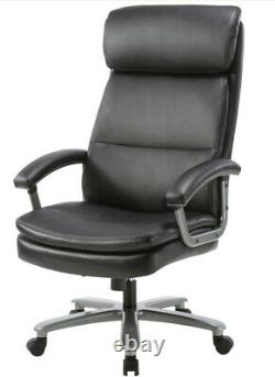 Zeus Black Leather Office Chair Heavy Duty Realspace Executive Padded Graded 95%